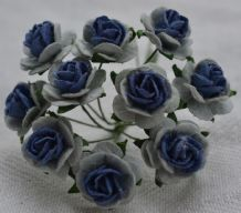 1.5cm LIGHT BLUE NAVY BLUE Mulberry Paper Roses